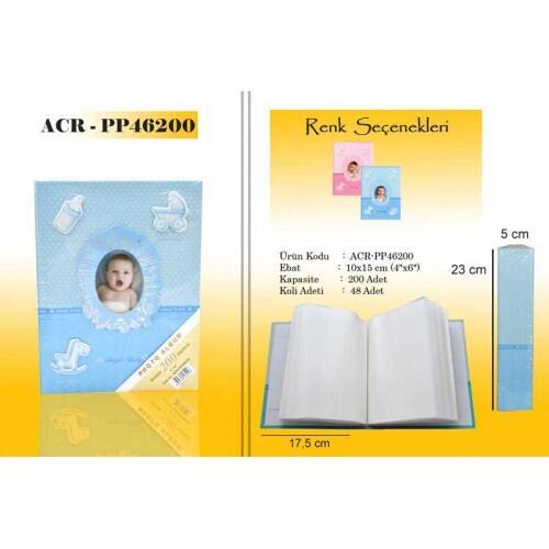 Mavi 200 lük 10x15cm Bebek Fotoğraf Albümü