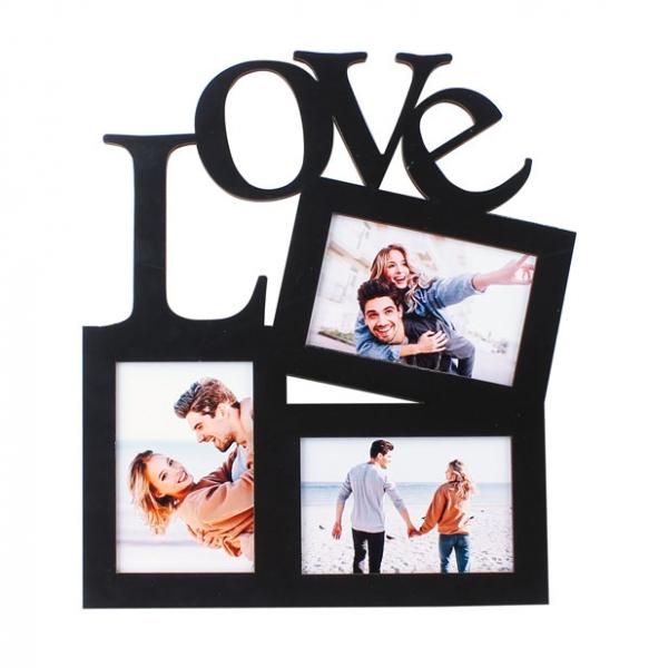 3 Fotoğraflı Ahşap Love Fotoğraf Çerçevesi