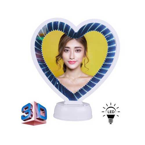 3D Led Işıklı Sihirli Aynalı Kalp Fotoğraf Çerçevesi