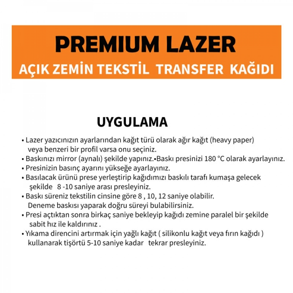 A3 Lazer Premium Açık Zemin Tekstil Transfer Kağıdı