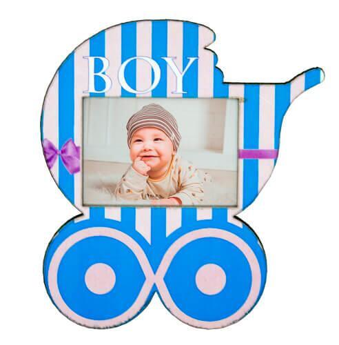 Ahşap Bebek Arabası Magnet (Mavi)