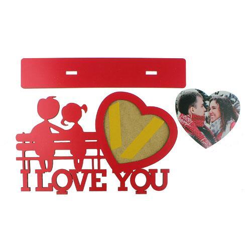 Ahşap I love You Masa Üstü Kırmızı Çerçeve