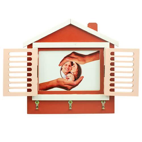 Ahşap Pencereli Ev Çerçeve (Pembe)