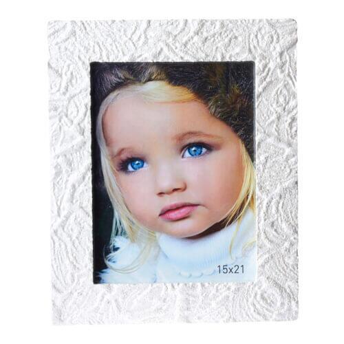 Beyaz Dalgalı Taş Fotoğraf Çerçevesi 15x21 cm