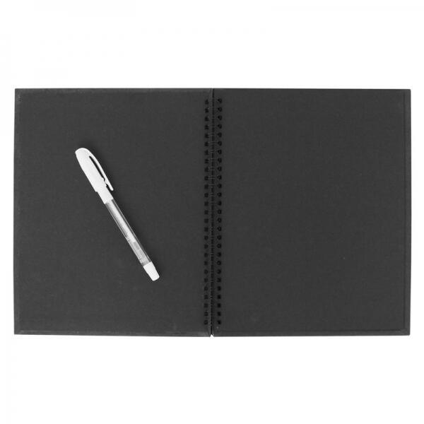 Beyaz Kalemli Siyah Anı Defteri 20x25 cm