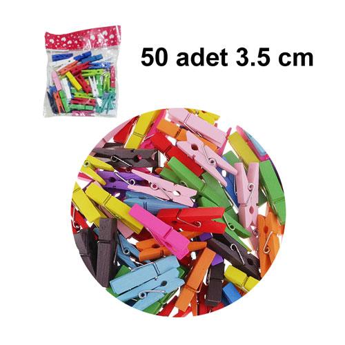 Renkli Ahşap Mandal 3,5 cm ( 50 adet)