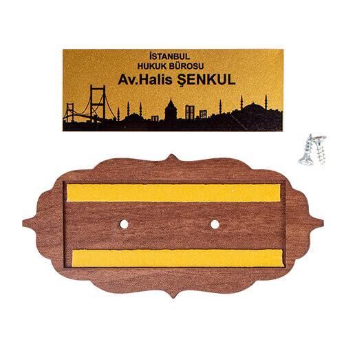 Dekoratif Ahşap Kapı İsimliği (Ceviz)