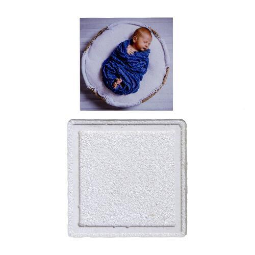 Metalli Taş Magnet 6,5x6,5 cm - Beyaz