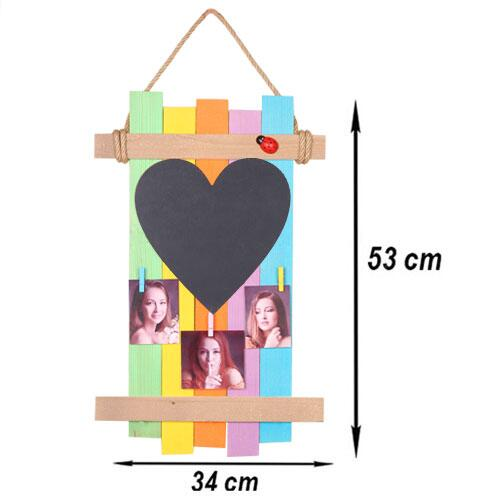 Renkli Ahşap Asimetrik Mandallı Çerçeve - Kalp Kara Tahtalı