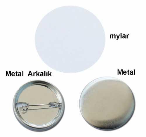 Rozet İğneli 58 mm Metal Arkalıklı (100 adet)