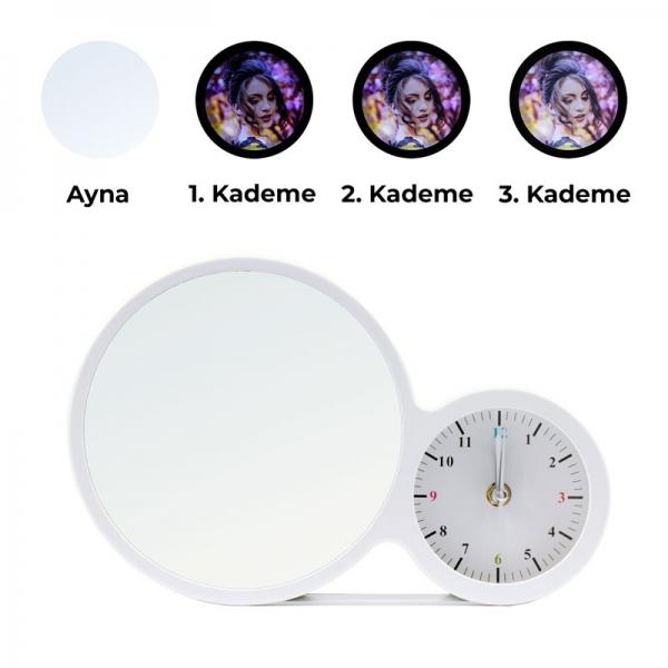 Kademeli Işıklı Sihirli Led Ayna Çerçeve-Saatli