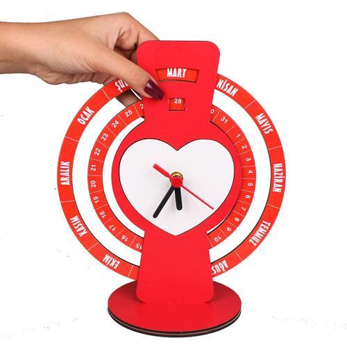 Sublimasyon Kırmızı Sonsuz Takvim Saat 25 cm