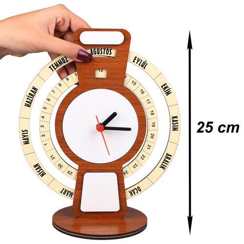 Sublimasyon MDF Ayaklı Sonsuz Takvim Saat 25 cm