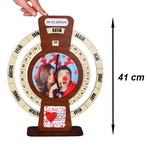 Sublimasyon MDF Ayaklı Sonsuz Takvim Saat 41 cm