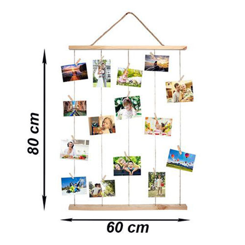 Uzun İpli Mandallı Ahşap Anı Çerçevesi 60x80 cm